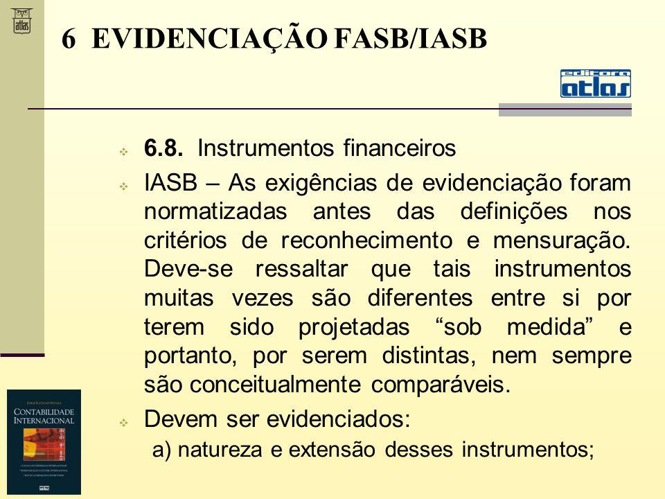 6.8. Instrumentos financeiros IASB – As exigências de evidenciação foram normatizadas antes das definições nos critérios de reconhecimento e mensuraçã