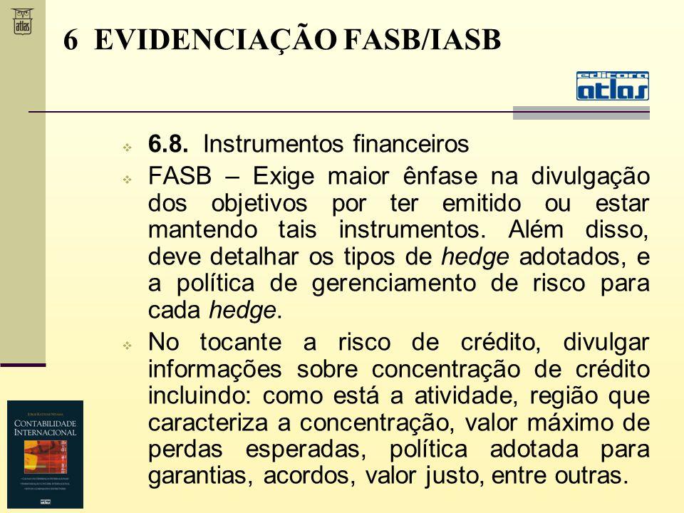 6.8. Instrumentos financeiros FASB – Exige maior ênfase na divulgação dos objetivos por ter emitido ou estar mantendo tais instrumentos. Além disso, d