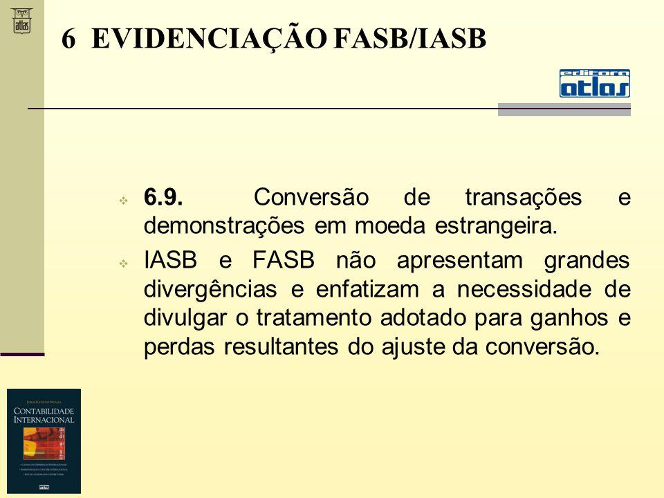 6.9. Conversão de transações e demonstrações em moeda estrangeira. IASB e FASB não apresentam grandes divergências e enfatizam a necessidade de divulg