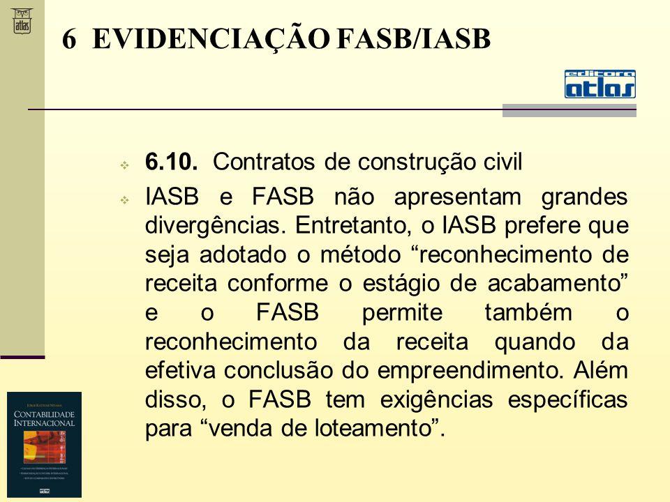 6.10. Contratos de construção civil IASB e FASB não apresentam grandes divergências. Entretanto, o IASB prefere que seja adotado o método reconhecimen