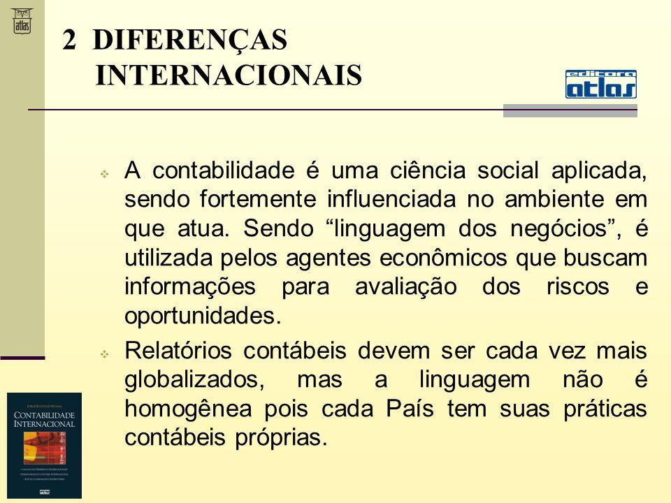 2 DIFERENÇAS INTERNACIONAIS A contabilidade é uma ciência social aplicada, sendo fortemente influenciada no ambiente em que atua. Sendo linguagem dos