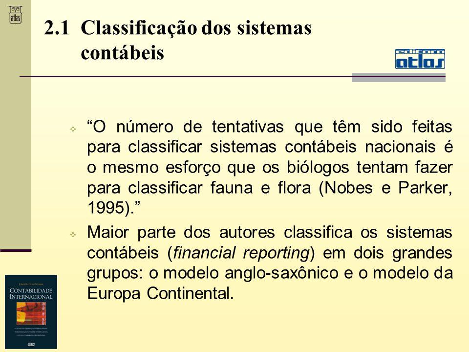 2.1 Classificação dos sistemas contábeis O número de tentativas que têm sido feitas para classificar sistemas contábeis nacionais é o mesmo esforço qu