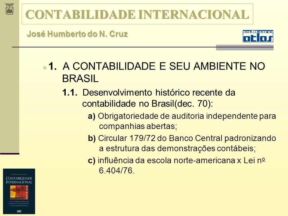 1.1 A Contabilidade e seu ambiente no Brasil Até a década de 70, a contabilidade foi marcada pela forte influência fiscal.