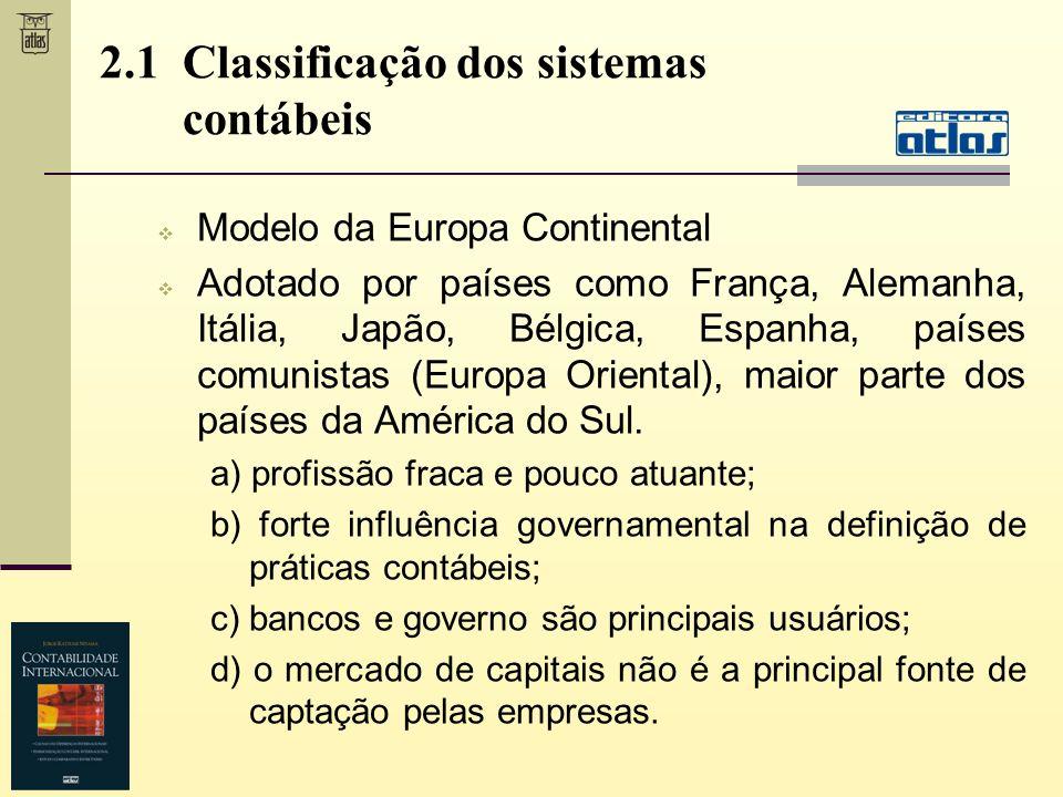 Modelo da Europa Continental Adotado por países como França, Alemanha, Itália, Japão, Bélgica, Espanha, países comunistas (Europa Oriental), maior par