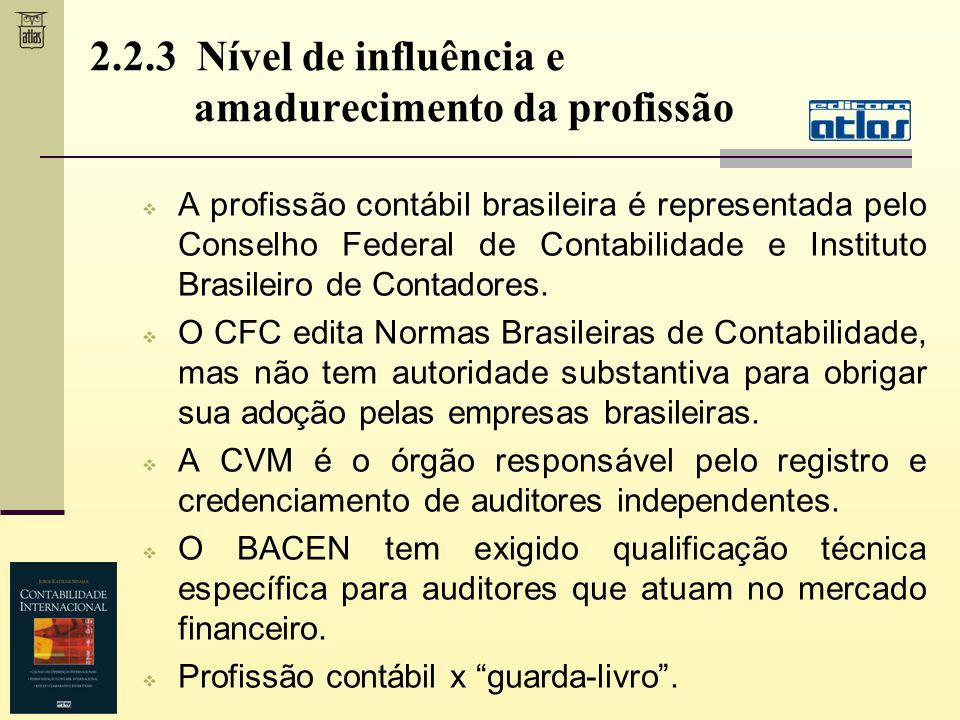 A profissão contábil brasileira é representada pelo Conselho Federal de Contabilidade e Instituto Brasileiro de Contadores. O CFC edita Normas Brasile