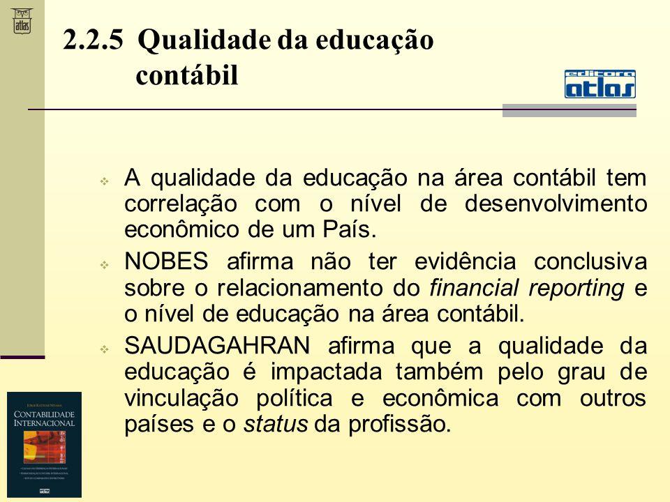 2.2.5 Qualidade da educação contábil A qualidade da educação na área contábil tem correlação com o nível de desenvolvimento econômico de um País. NOBE
