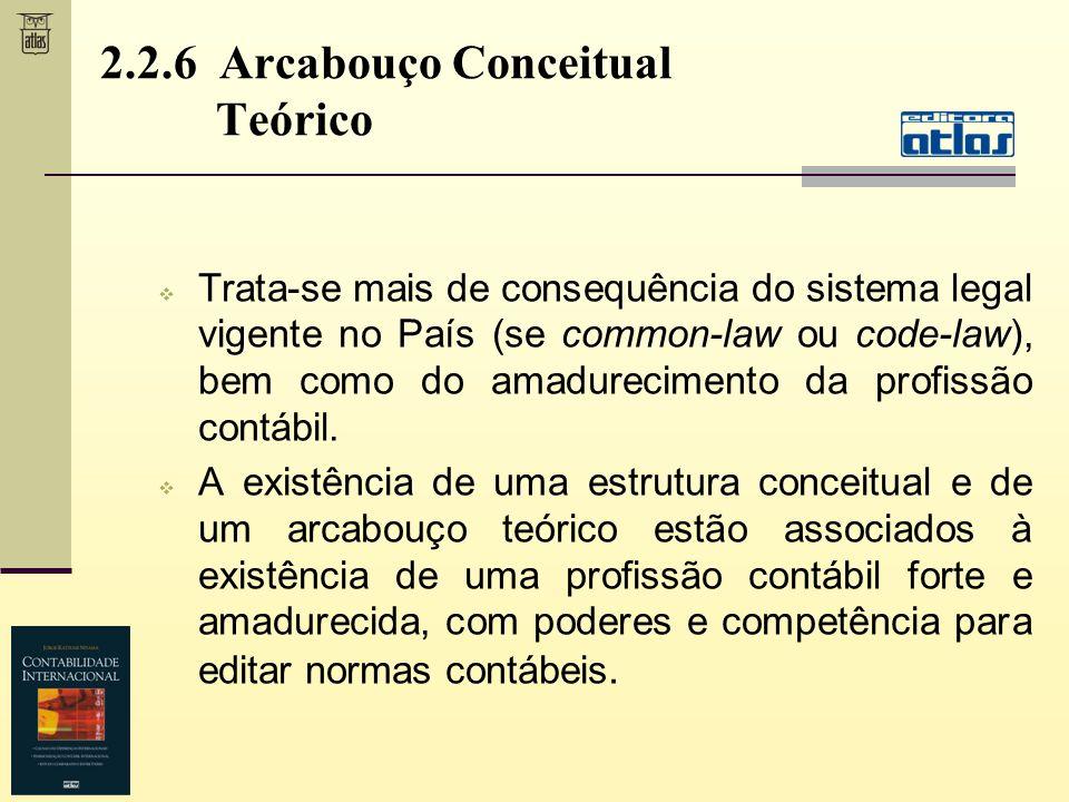 2.2.6 Arcabouço Conceitual Teórico Trata-se mais de consequência do sistema legal vigente no País (se common-law ou code-law), bem como do amadurecime