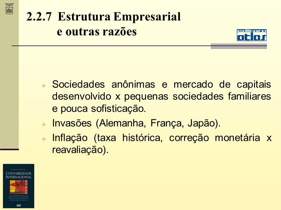 2.2.7 Estrutura Empresarial e outras razões Sociedades anônimas e mercado de capitais desenvolvido x pequenas sociedades familiares e pouca sofisticaç