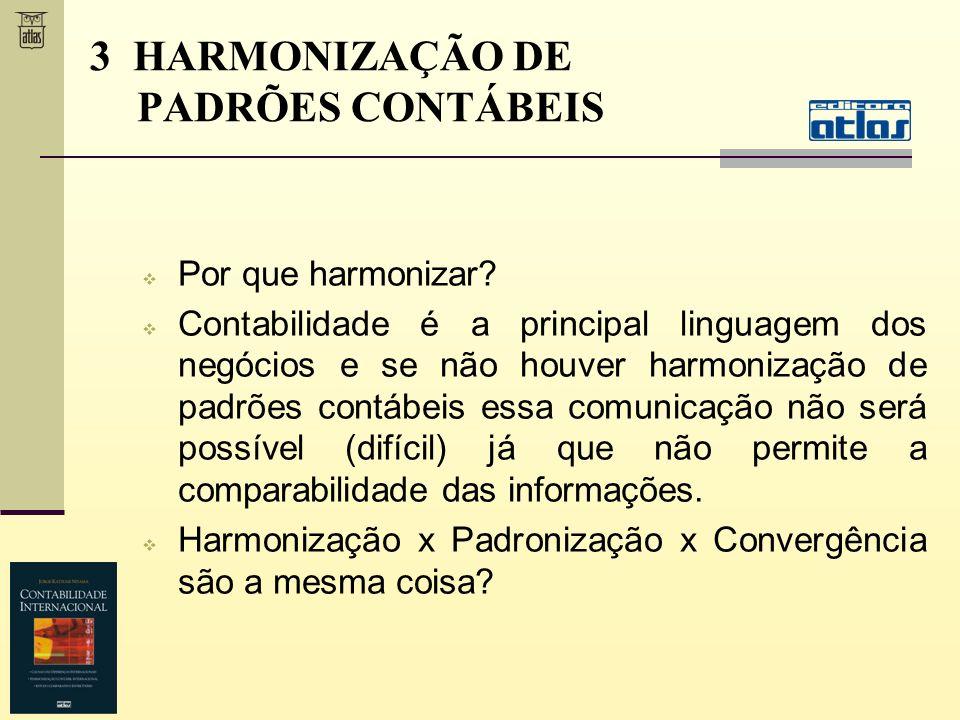 3 HARMONIZAÇÃO DE PADRÕES CONTÁBEIS Por que harmonizar? Contabilidade é a principal linguagem dos negócios e se não houver harmonização de padrões con