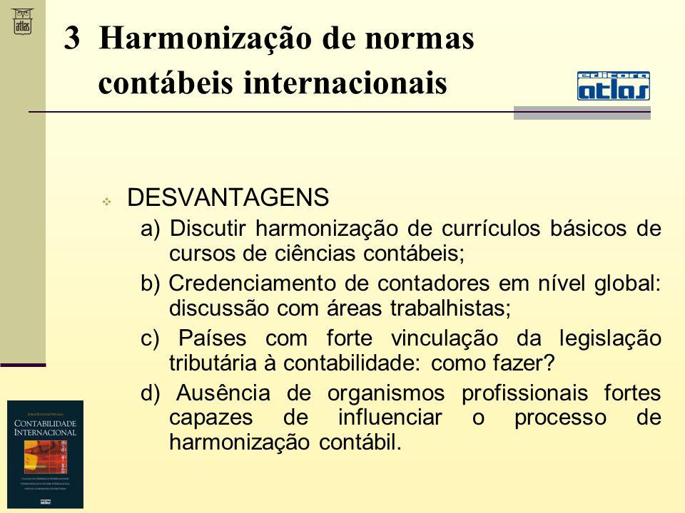 DESVANTAGENS a) Discutir harmonização de currículos básicos de cursos de ciências contábeis; b) Credenciamento de contadores em nível global: discussã