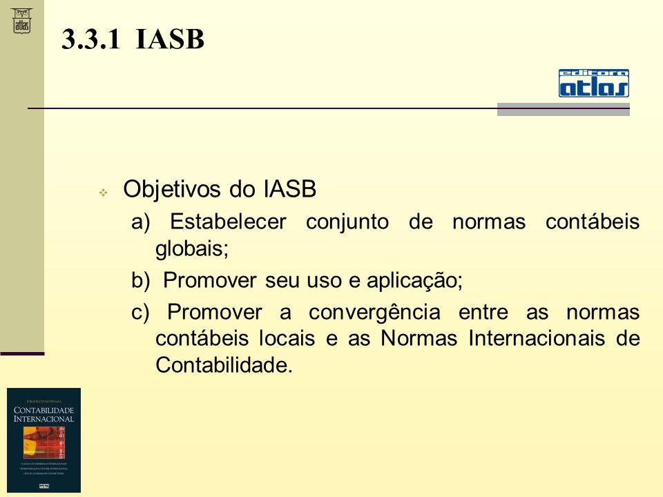 3.3.1 IASB Objetivos do IASB a) Estabelecer conjunto de normas contábeis globais; b) Promover seu uso e aplicação; c) Promover a convergência entre as