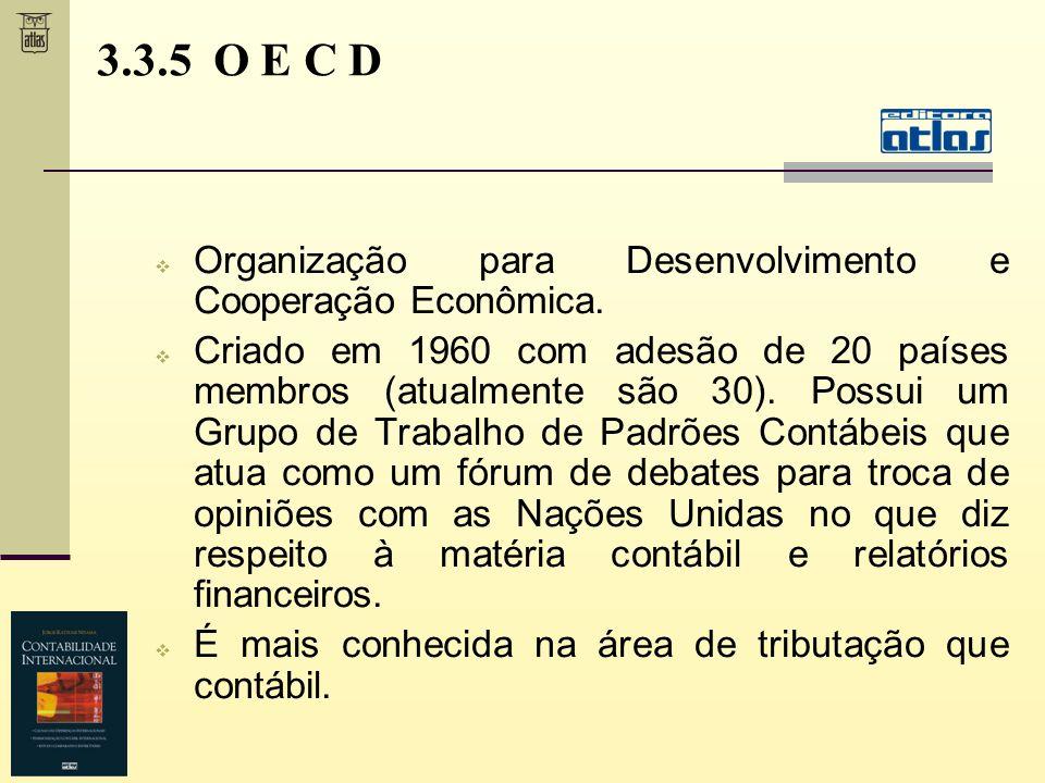 3.3.5 O E C D Organização para Desenvolvimento e Cooperação Econômica. Criado em 1960 com adesão de 20 países membros (atualmente são 30). Possui um G