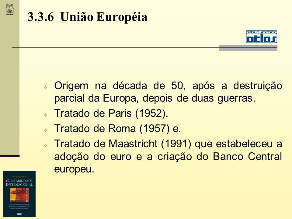 3.3.6 União Européia Origem na década de 50, após a destruição parcial da Europa, depois de duas guerras. Tratado de Paris (1952). Tratado de Roma (19