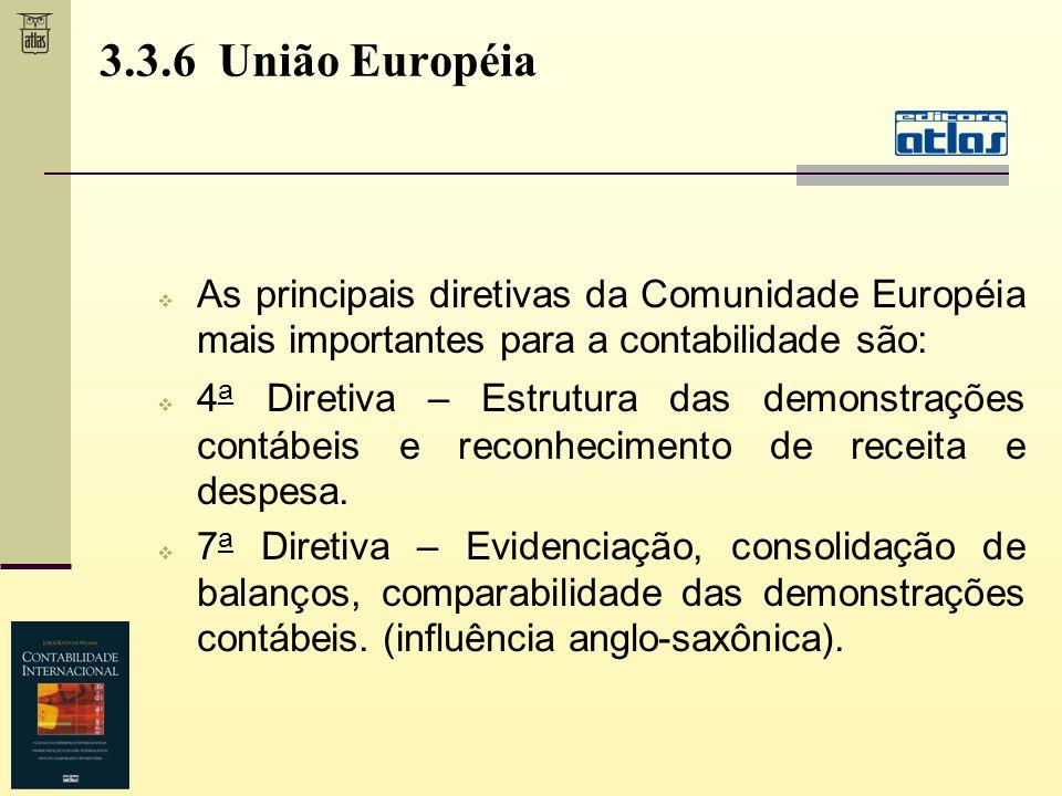 As principais diretivas da Comunidade Européia mais importantes para a contabilidade são: 4 a Diretiva – Estrutura das demonstrações contábeis e recon