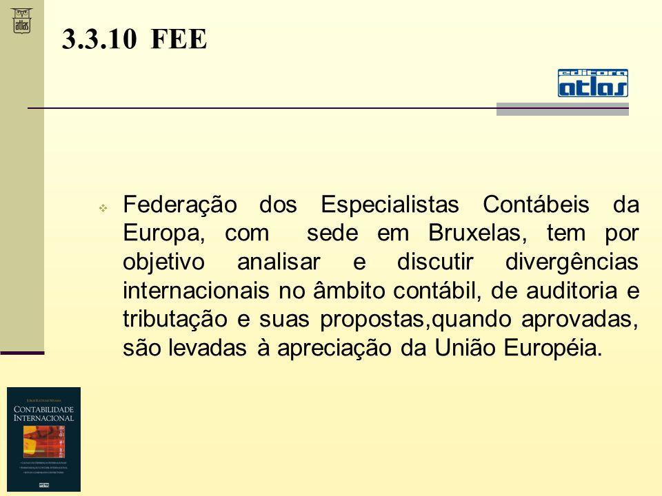3.3.10 FEE Federação dos Especialistas Contábeis da Europa, com sede em Bruxelas, tem por objetivo analisar e discutir divergências internacionais no