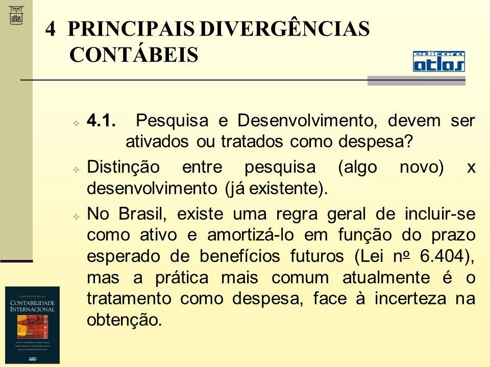 4 PRINCIPAIS DIVERGÊNCIAS CONTÁBEIS 4.1. Pesquisa e Desenvolvimento, devem ser ativados ou tratados como despesa? Distinção entre pesquisa (algo novo)