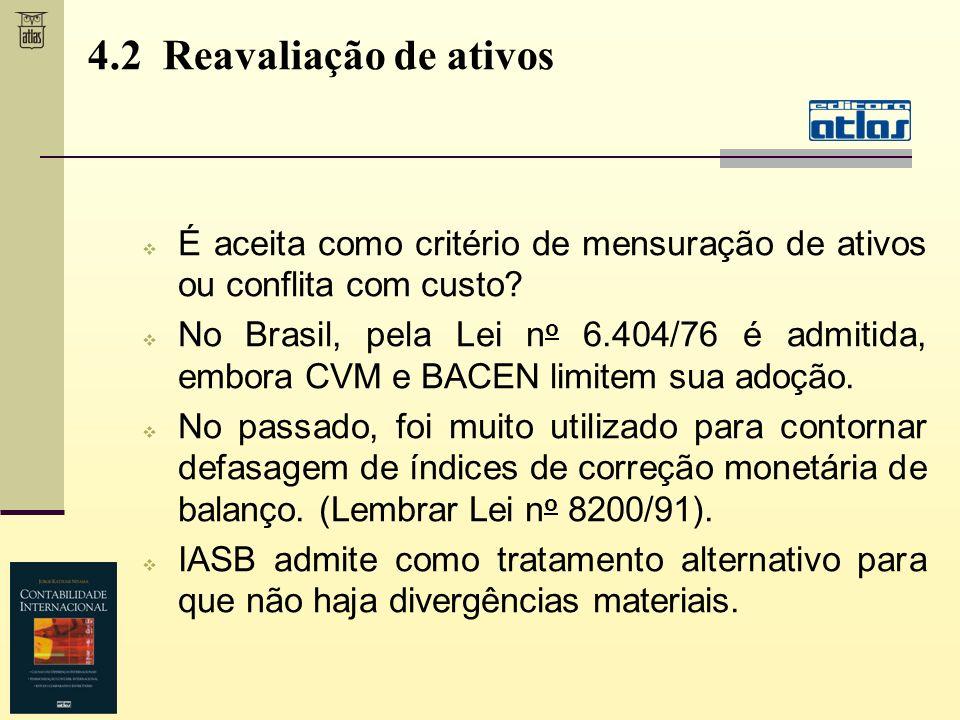 4.2 Reavaliação de ativos É aceita como critério de mensuração de ativos ou conflita com custo? No Brasil, pela Lei n o 6.404/76 é admitida, embora CV
