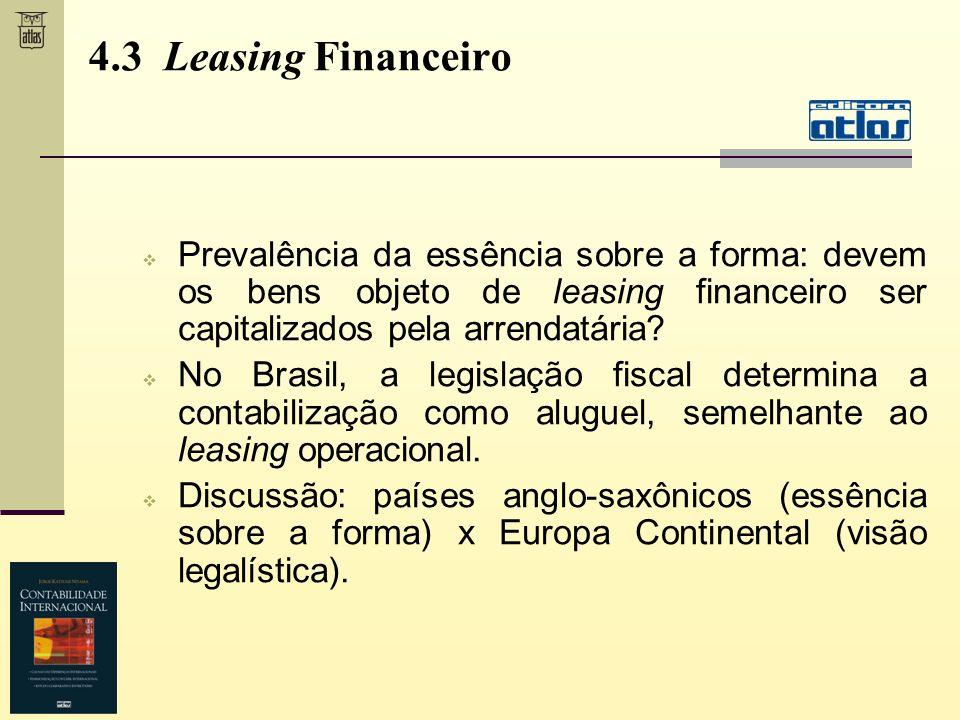 4.3 Leasing Financeiro Prevalência da essência sobre a forma: devem os bens objeto de leasing financeiro ser capitalizados pela arrendatária? No Brasi