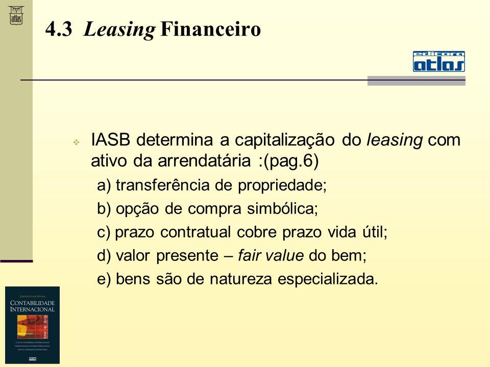 IASB determina a capitalização do leasing com ativo da arrendatária :(pag.6) a) transferência de propriedade; b) opção de compra simbólica; c) prazo c