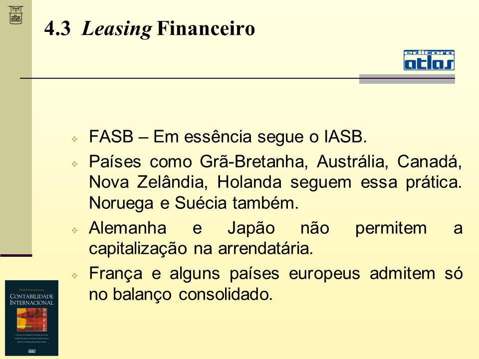 FASB – Em essência segue o IASB. Países como Grã-Bretanha, Austrália, Canadá, Nova Zelândia, Holanda seguem essa prática. Noruega e Suécia também. Ale