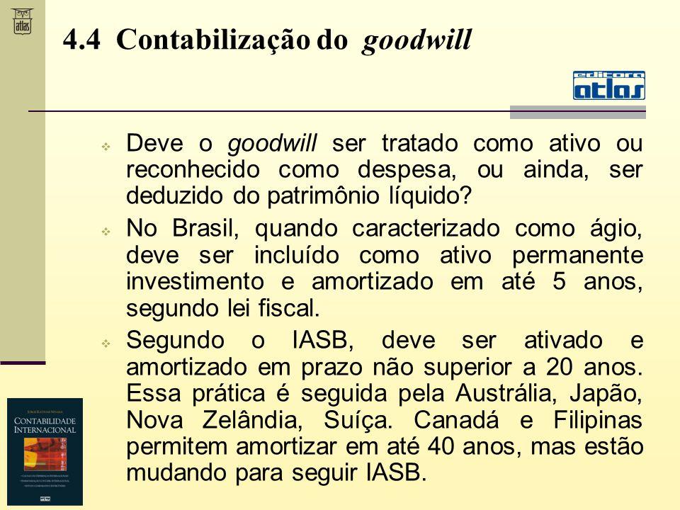 4.4 Contabilização do goodwill Deve o goodwill ser tratado como ativo ou reconhecido como despesa, ou ainda, ser deduzido do patrimônio líquido? No Br