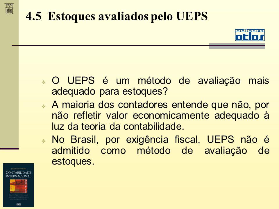 4.5 Estoques avaliados pelo UEPS O UEPS é um método de avaliação mais adequado para estoques? A maioria dos contadores entende que não, por não reflet