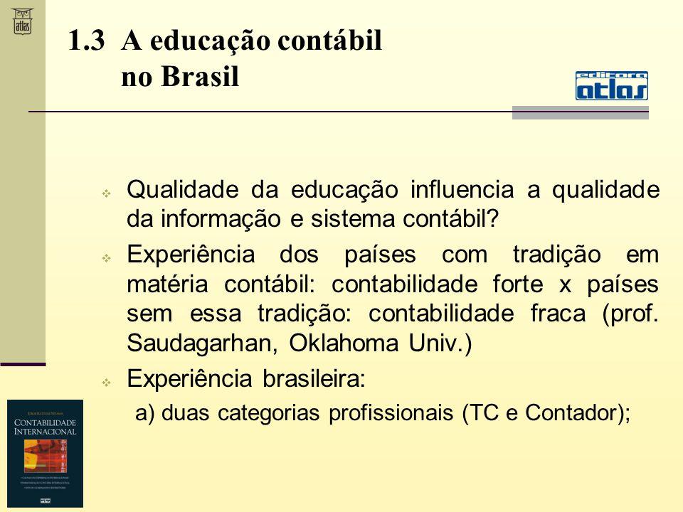1.3 A educação contábil no Brasil Qualidade da educação influencia a qualidade da informação e sistema contábil? Experiência dos países com tradição e