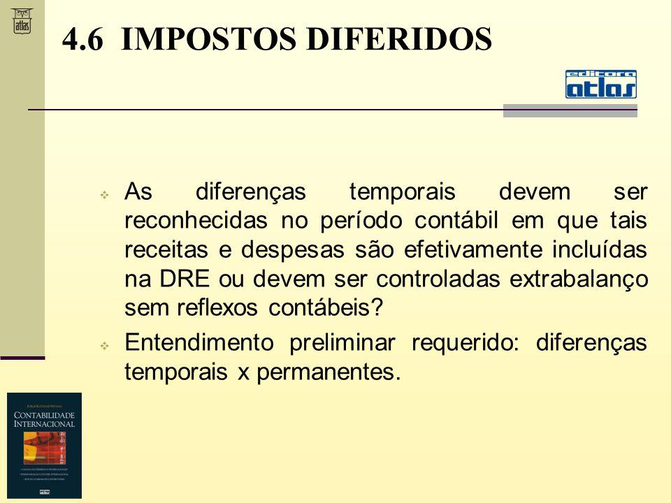 4.6 IMPOSTOS DIFERIDOS As diferenças temporais devem ser reconhecidas no período contábil em que tais receitas e despesas são efetivamente incluídas n