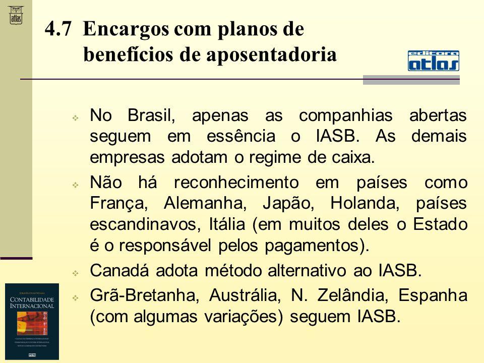 No Brasil, apenas as companhias abertas seguem em essência o IASB. As demais empresas adotam o regime de caixa. Não há reconhecimento em países como F