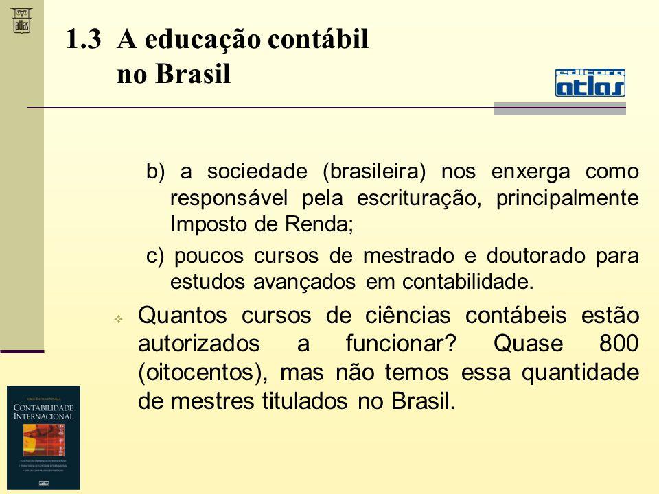 b) a sociedade (brasileira) nos enxerga como responsável pela escrituração, principalmente Imposto de Renda; c) poucos cursos de mestrado e doutorado