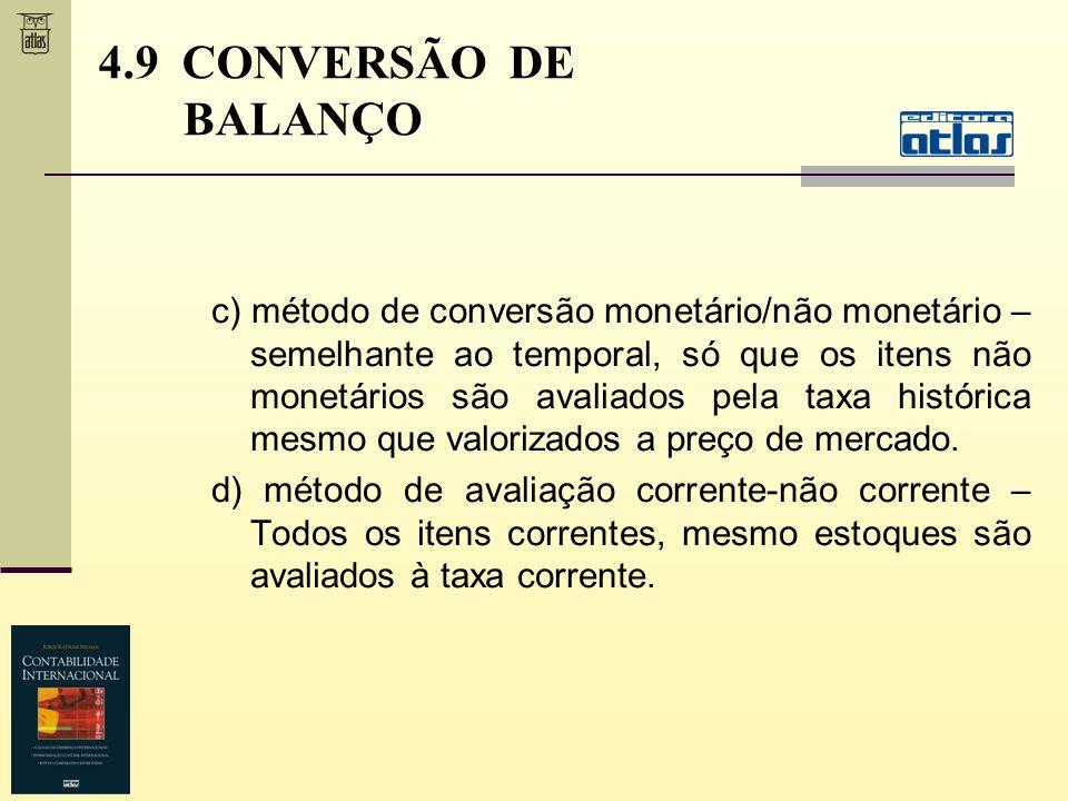 c) método de conversão monetário/não monetário – semelhante ao temporal, só que os itens não monetários são avaliados pela taxa histórica mesmo que va