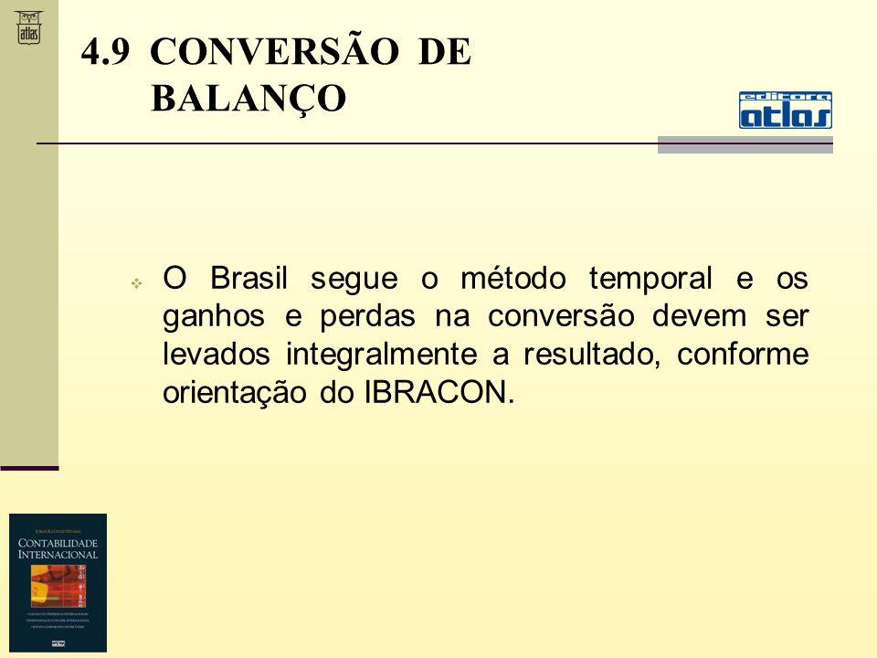 O Brasil segue o método temporal e os ganhos e perdas na conversão devem ser levados integralmente a resultado, conforme orientação do IBRACON. 4.9 CO