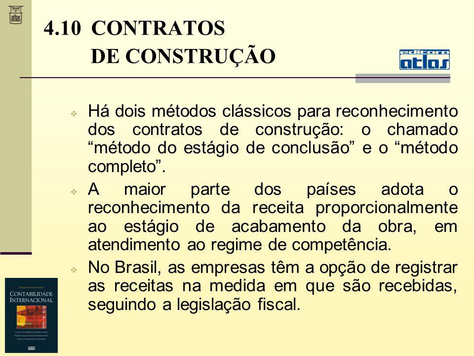 4.10 CONTRATOS DE CONSTRUÇÃO Há dois métodos clássicos para reconhecimento dos contratos de construção: o chamado método do estágio de conclusão e o m