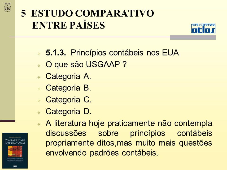 5.1.3. Princípios contábeis nos EUA O que são USGAAP ? Categoria A. Categoria B. Categoria C. Categoria D. A literatura hoje praticamente não contempl