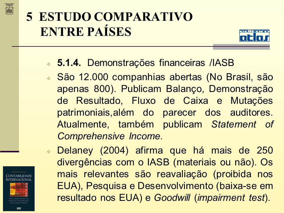 5.1.4. Demonstrações financeiras /IASB São 12.000 companhias abertas (No Brasil, são apenas 800). Publicam Balanço, Demonstração de Resultado, Fluxo d