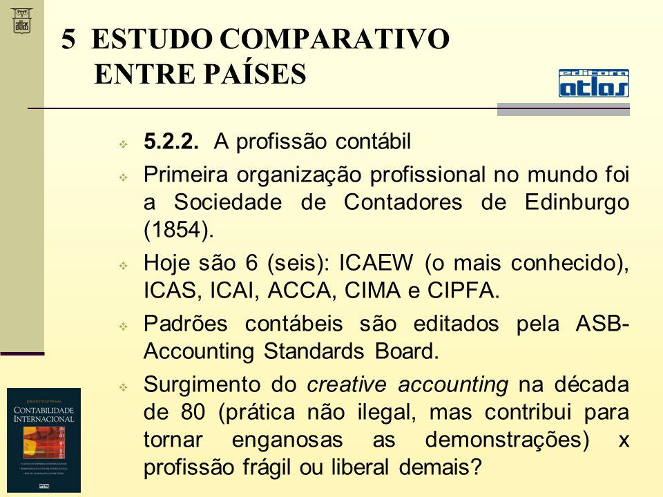 5.2.2. A profissão contábil Primeira organização profissional no mundo foi a Sociedade de Contadores de Edinburgo (1854). Hoje são 6 (seis): ICAEW (o