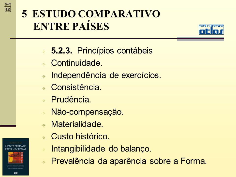 5.2.3. Princípios contábeis Continuidade. Independência de exercícios. Consistência. Prudência. Não-compensação. Materialidade. Custo histórico. Intan