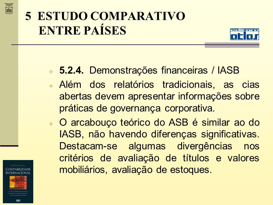 5.2.4. Demonstrações financeiras / IASB Além dos relatórios tradicionais, as cias abertas devem apresentar informações sobre práticas de governança co
