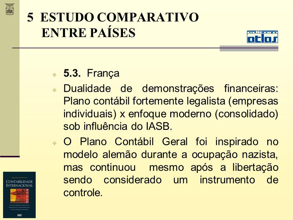 5.3. França Dualidade de demonstrações financeiras: Plano contábil fortemente legalista (empresas individuais) x enfoque moderno (consolidado) sob inf