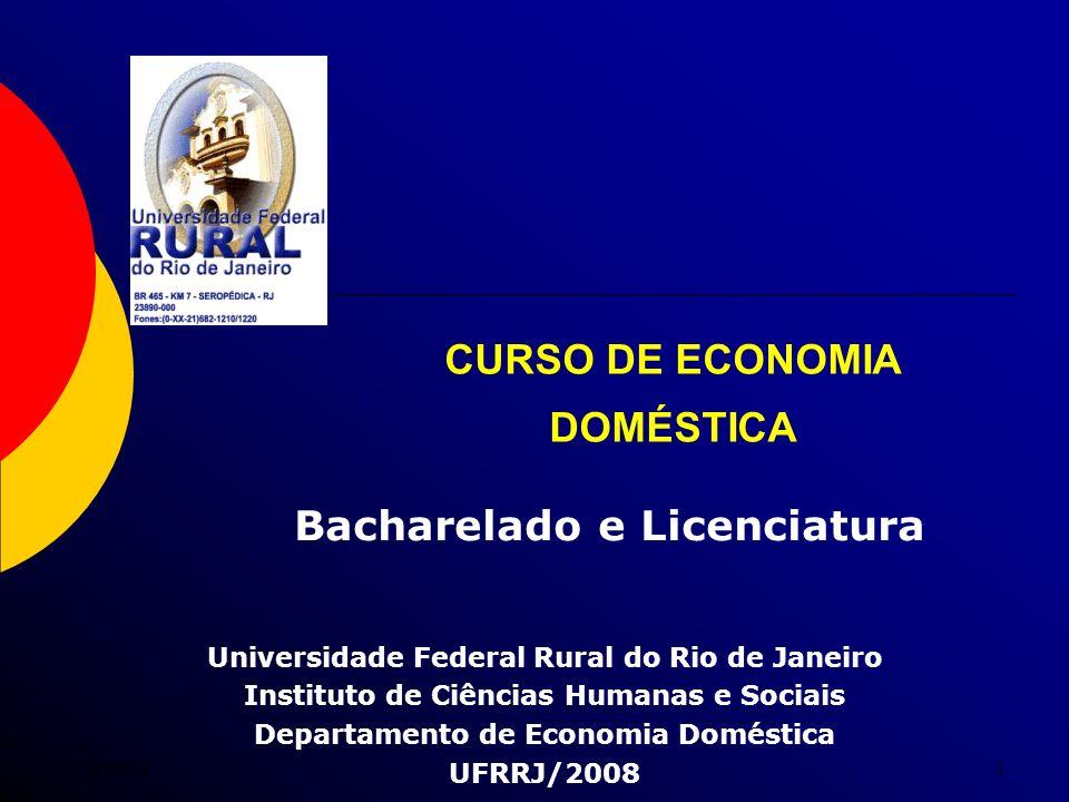7/5/20141 CURSO DE ECONOMIA DOMÉSTICA Universidade Federal Rural do Rio de Janeiro Instituto de Ciências Humanas e Sociais Departamento de Economia Do
