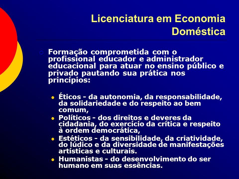 Licenciatura em Economia Doméstica Formação comprometida com o profissional educador e administrador educacional para atuar no ensino público e privad