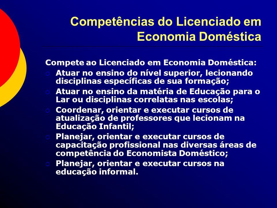 Competências do Licenciado em Economia Doméstica Compete ao Licenciado em Economia Doméstica: Atuar no ensino do nível superior, lecionando disciplina