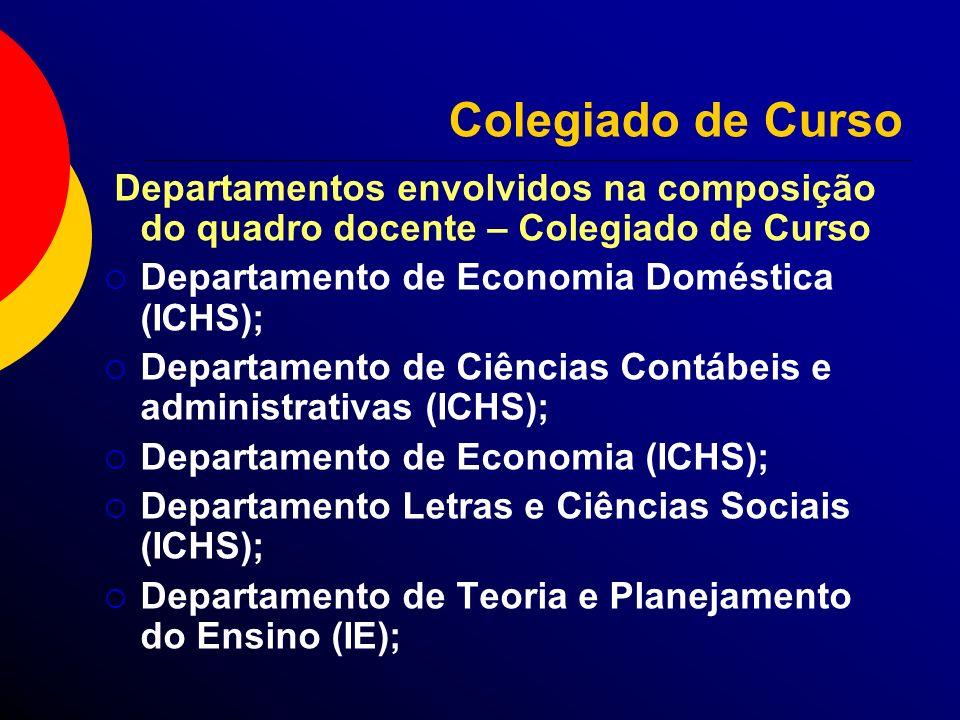 Colegiado de Curso Departamentos envolvidos na composição do quadro docente – Colegiado de Curso Departamento de Economia Doméstica (ICHS); Departamen