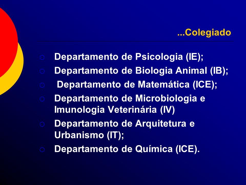 ...Colegiado Departamento de Psicologia (IE); Departamento de Biologia Animal (IB); Departamento de Matemática (ICE); Departamento de Microbiologia e