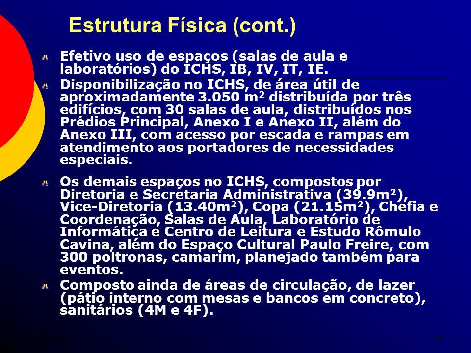 7/5/201418 Estrutura Física (cont.) Efetivo uso de espaços (salas de aula e laboratórios) do ICHS, IB, IV, IT, IE. Disponibilização no ICHS, de área ú