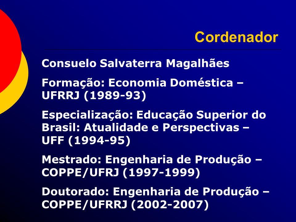 Cordenador Consuelo Salvaterra Magalhães Formação: Economia Doméstica – UFRRJ (1989-93) Especialização: Educação Superior do Brasil: Atualidade e Pers