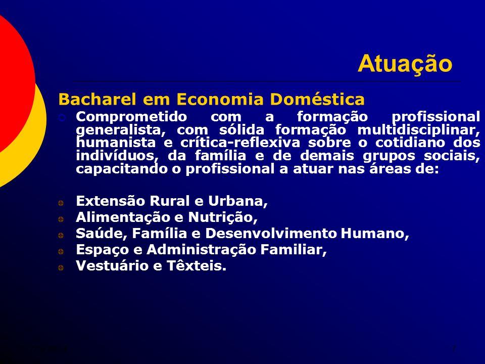 7/5/20147 Atuação Bacharel em Economia Doméstica Comprometido com a formação profissional generalista, com sólida formação multidisciplinar, humanista