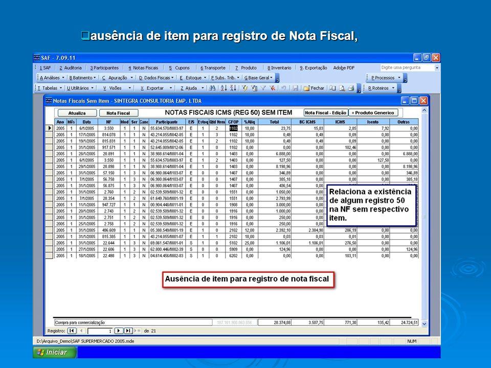 ausência de item para registro de Nota Fiscal, ausência de item para registro de Nota Fiscal,