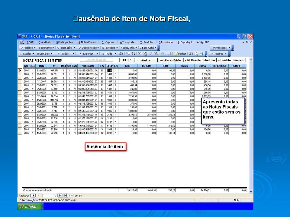 ausência de item de Nota Fiscal, ausência de item de Nota Fiscal,
