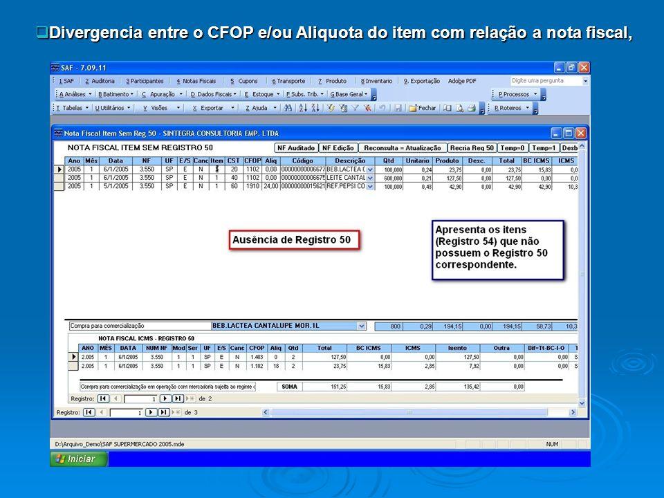 Divergencia entre o CFOP e/ou Aliquota do item com relação a nota fiscal, Divergencia entre o CFOP e/ou Aliquota do item com relação a nota fiscal,
